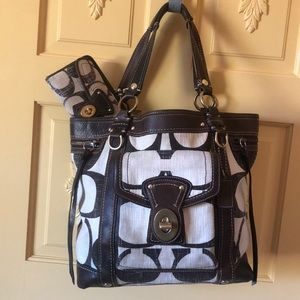 Coach bag and wallet with leather details